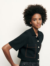 Shirt-style cropped cardigan : Sweaters & Cardigans color Black