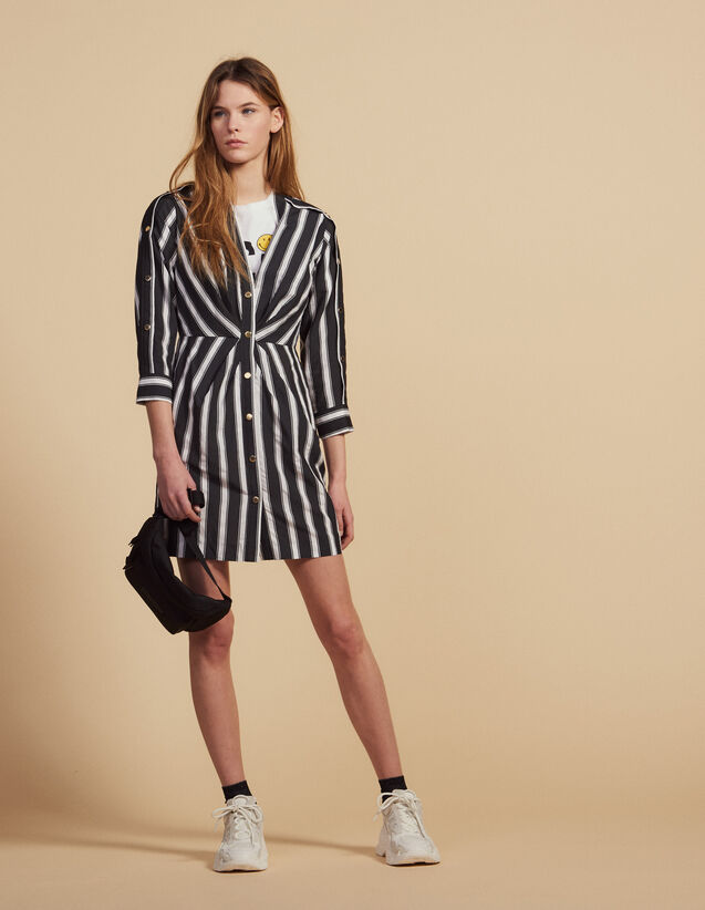 Short Striped Dress With V-Neck : Dresses color Black