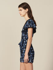 Short-Sleeved Printed Playsuit : Jumpsuits color Blue