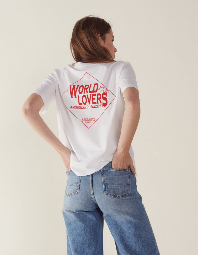 T-Shirt With Flocked Lettering : T-shirts color white