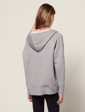 Hoodie Cardigan With All-Over Lining : null color Grey