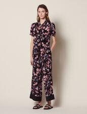 Floral Print Jumpsuit : null color Black