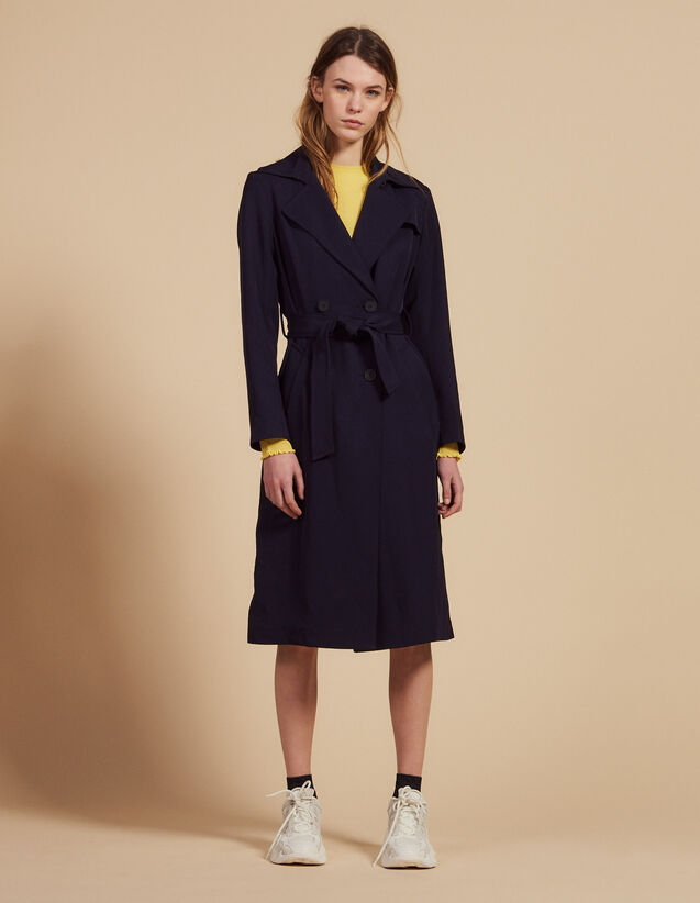 Flowing Trench Coat With Belt : Coats color Navy Blue