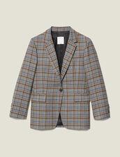 Checked wool blazer : Blazers & Jackets color Grey