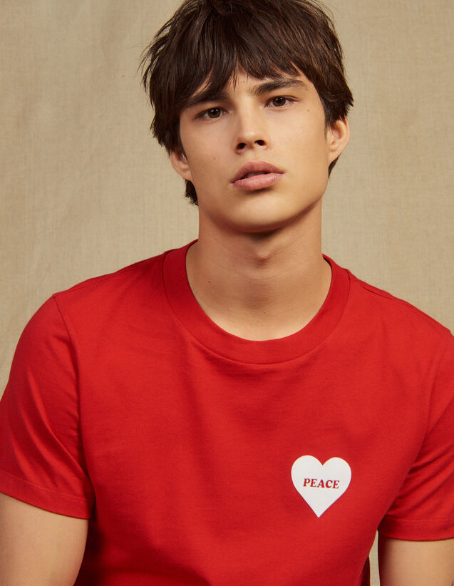 Cotton T-Shirt With Flocked Heart : T-shirts & Polo shirts color white