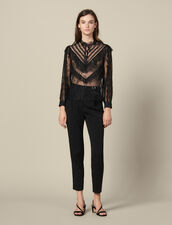 Lace top with ruffles : Tops & Shirts color Black