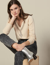 Sweater With Jewel-Trimmed Neck : FBlackFriday-FR-FSelection-30 color Beige