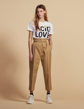 Belted High-Waisted Trousers : Pants color Beige
