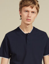 Polo Shirt With Contrasting Collar : Winter Collection color Navy Blue