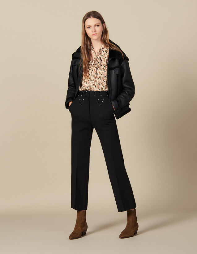 Trousers with studded belt : Pants color Black