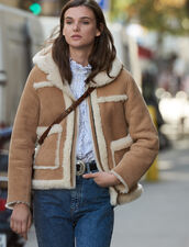Short Sheepskin Coat With Hood : Coats color Beige
