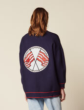 Cardigan With Embroidery On The Back : Sweaters & Cardigans color Navy Blue