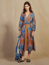 Long Printed Silk Dress : Dresses color Multi-Color