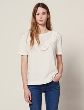 T-Shirt With Pleated Front Panel : LastChance-FR-FSelection color white
