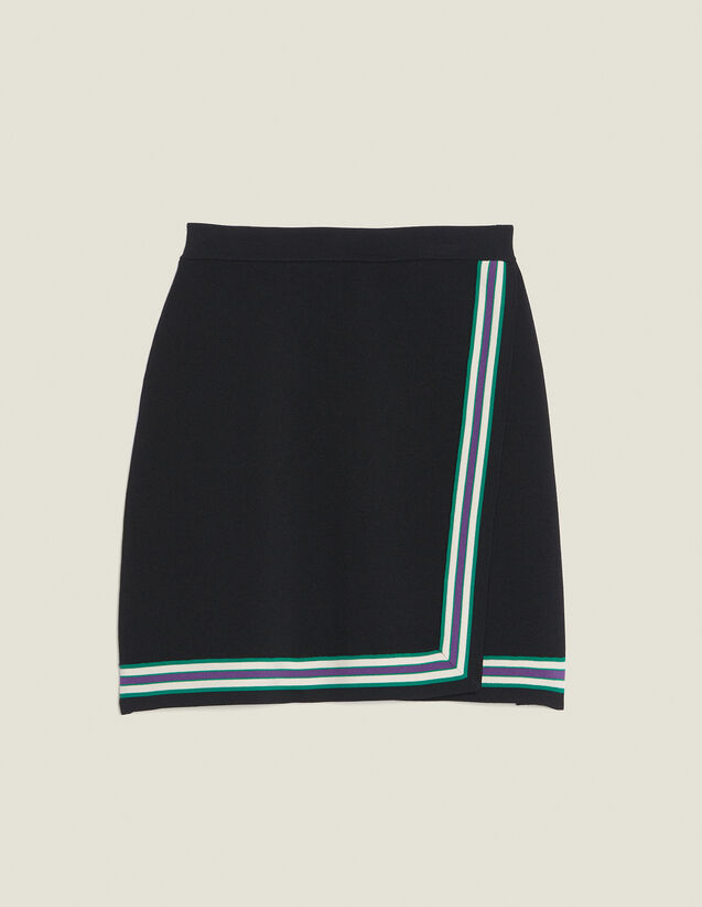 Wraparound-Style Knit Skirt : Skirts & Shorts color Black