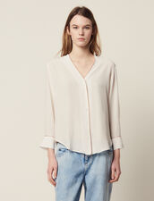 Low-Cut Silk Shirt : Tops & Shirts color Ecru
