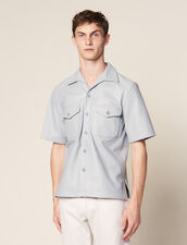 Short-Sleeved Lambskin Shirt : All selection color Sky Blue