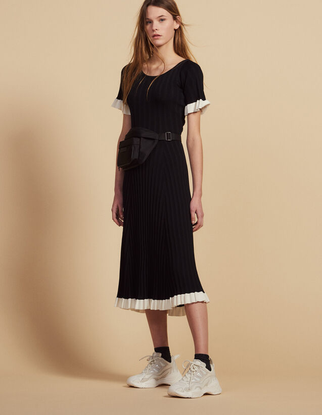 Flared Ribbed Knit Midi Dress : Dresses color Black