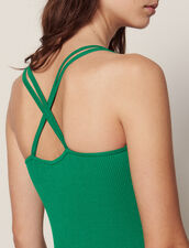 Long Knitted Dress With Straps : Dresses color Green