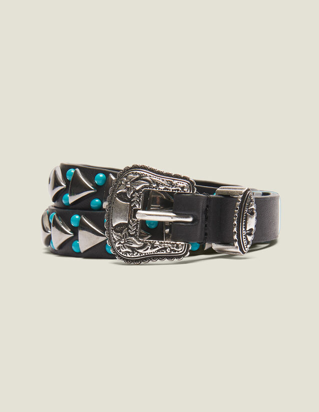 Narrow Belt With Western Buckle : null color Black
