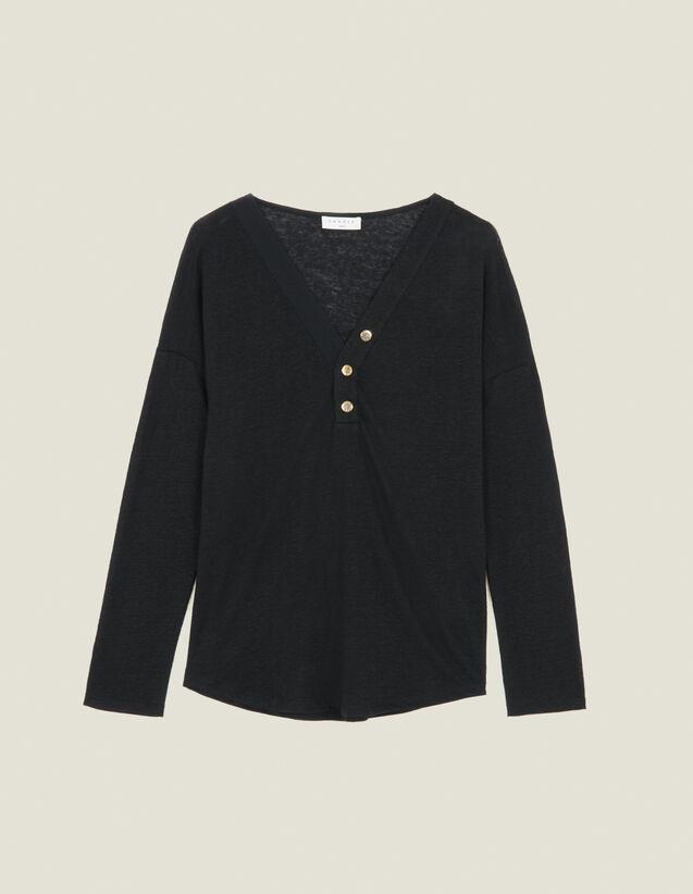 Long-Sleeved Linen T-Shirt : LastChance-ES-F50 color Black