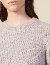 Round Neck Sweater With Rib Knit Effect : Sweaters & Cardigans color Grey