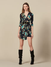 Short printed dress with draped belt : LastChance-ES-F50 color Black