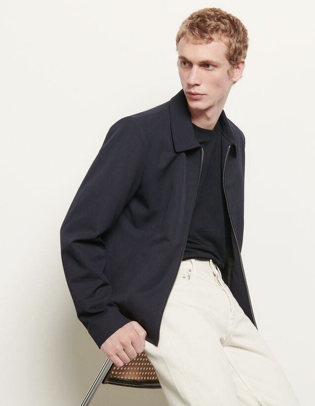 Wool jacket with shirt collar : Summer Collection color Navy Blue