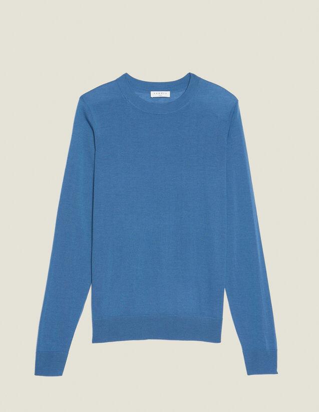 Merino Wool Sweater : Sweaters & Cardigans color Steel blue