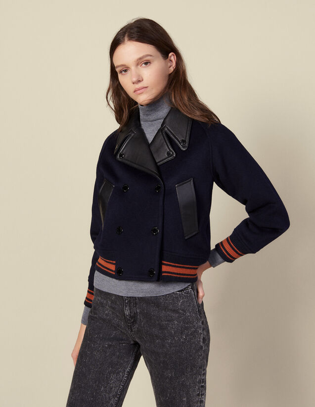 Cropped wool jacket : Coats color Navy Blue