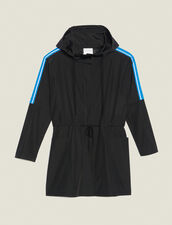 Windbreaker Coat With Lettering On Trim : null color Black