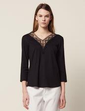 T-Shirt With Lace Neckline : T-shirts color Black