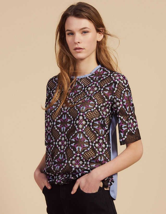 Dual Fabric Floral Guipure Lace Top : Printed shirt color Black