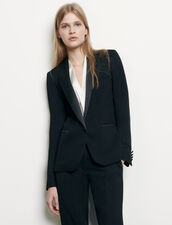 Tuxedo jacket with satin inset : Blazers & Jackets color Black