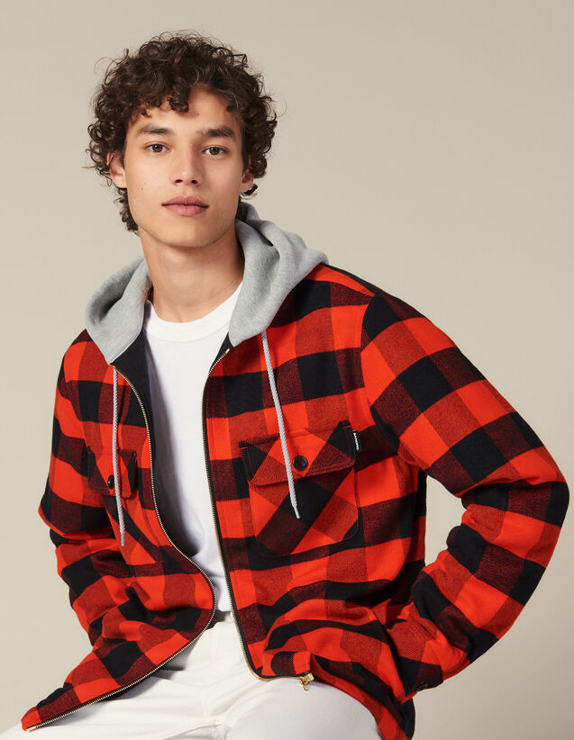 Check Overshirt With Hood : Blazers & Jackets color Orange