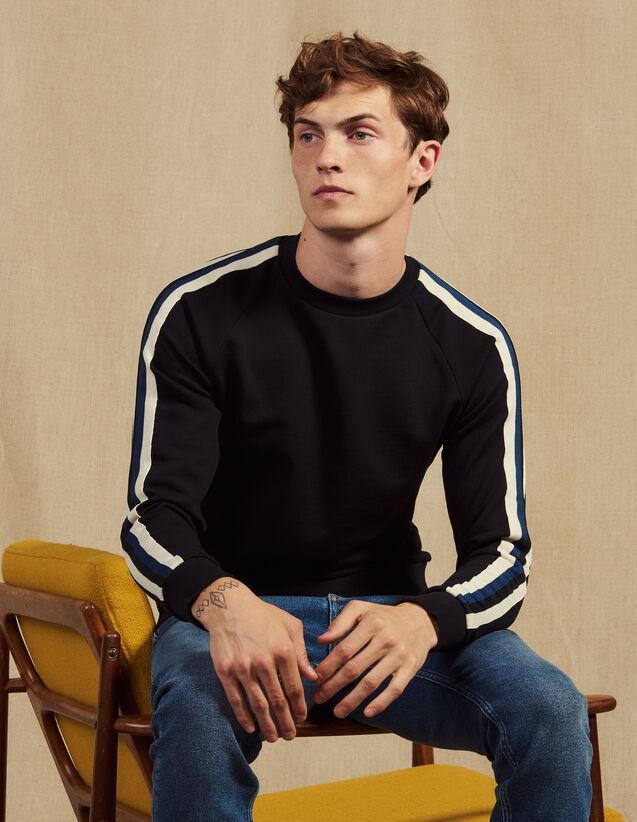 Sweatshirt With Three-Coloured Trim : Sweatshirts color Navy Blue