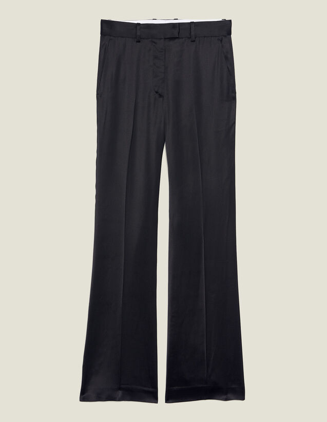 Trousers In Satin Fabric : null color Black