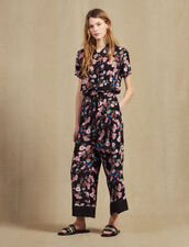 Floral Print Jumpsuit : null color Black