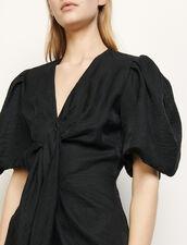 Linen tie dress : Dresses color Black