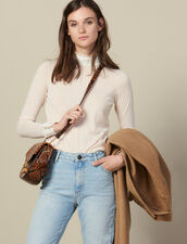 High-Neck Sweater With Pleated Silk : LastChance-ES-F40 color Nude