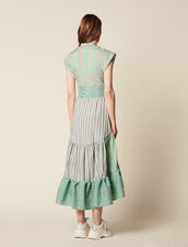 Stripy Wrap Dress : FAnciennesCollections color Green