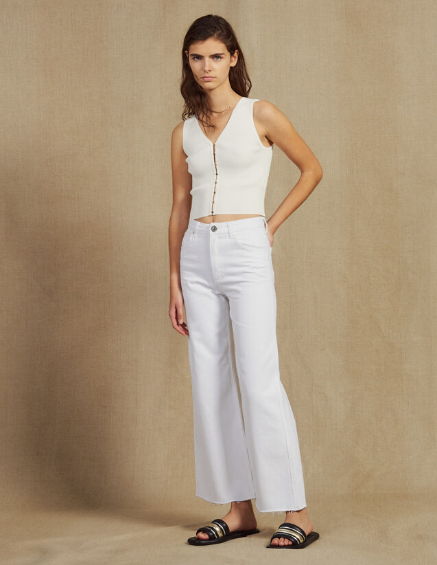 High-Waisted Flared Jeans : LastChance-FR-FSelection color white