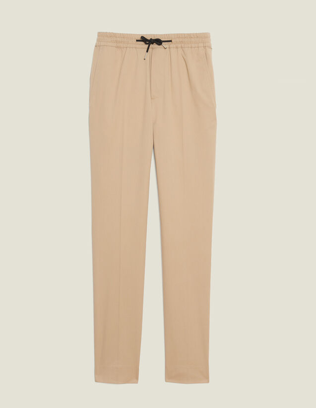 Cotton Trousers With Elasticated Waist : Pants & Shorts color Beige