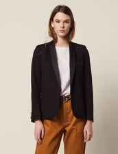 Tuxedo Jacket With Satin Inset : Blazers & Jackets color Black