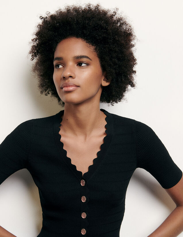 Knitted sweater with decorative buttons : Sweaters & Cardigans color Black