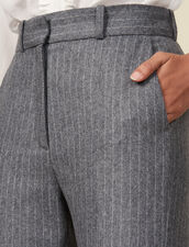 Flannel trousers with tennis stripes : Pants color Grey