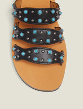 Wedge Sandals With Beading : null color Black