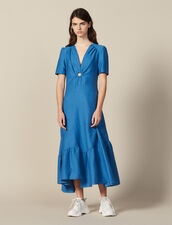 Long Dress Trimmed With A Covered Ring : Dresses color Blue Jean