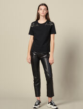 T-Shirt With Embroidery On The Shoulders : FBlackFriday-FR-FSelection-30 color Black