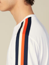 T-Shirt With Stripes On The Sleeves : Winter Collection color white